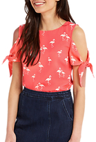 Oasis Flamingo Tie-Sleeve Top, Multi Red
