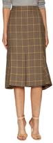 Balenciaga Plaid Pleat Midi Skirt