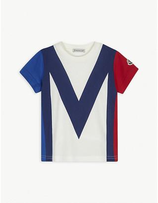 Moncler Colour block logo print cotton T-shirt 4-14 years