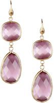 Rivka Friedman 18K Gold Clad Lavender Cat&s Eye Crystal Bold Double Drop Earrings