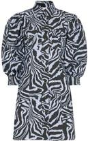 Ganni Zebra-Print Mini Shirt Dress
