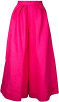 DELPOZO pleated detail palazzo trousers - women - Linen/Flax - 40