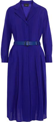 Akris Belted Pleated Wool-voile Midi Dress