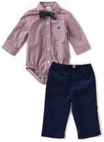 Little Me Baby Boys 12-24 Months Train-Embroidered Checked Bodysuit & Solid Pant Set
