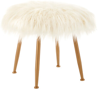 Linon Arlo Cream Fur Stool