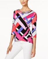Alfred Dunner Petite Printed Cutout-Neck Top