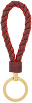 Bottega Veneta Burgundy and Red Intrecciato Loop Keychain