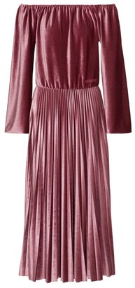 Valentino Velvet Off-The-Shoulder Midi Dress