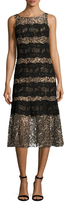 Tracy Reese Embroidered Lace Striped Tank Dress