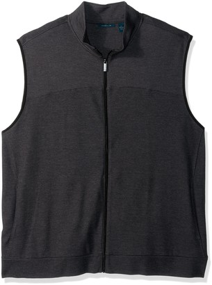 Perry Ellis Men's Big Cotton Blend Full Zip Texture Knit Vest