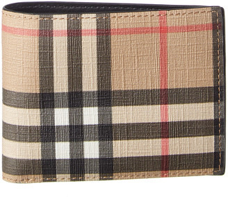 Burberry Vintage Check E-Canvas & Leather Bifold Wallet
