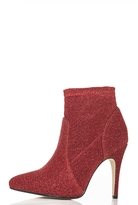 Quiz Red Textured Pointed Ankle Boots