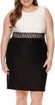 London Times London Style Collection Sleeveless Lace Colorblock Sheath Dress