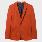 Men's Slim-Fit Burnt Orange Stretch-Cotton Buggy-Lined Blazer