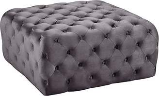 Meridian Furniture Ariel Collection Modern | Contemporary Velvet Upholstered Ottoman/Bench with Deep Button Tufting