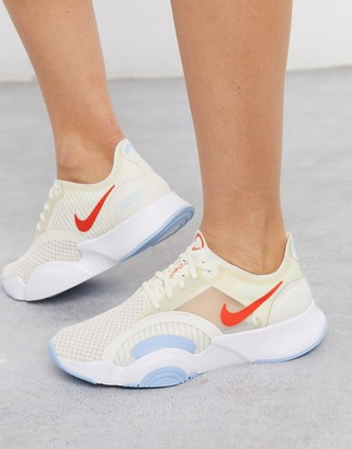 Nike Training SuperRep Go sneakers in off white
