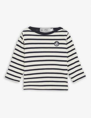 Petit Bateau Logo patch striped long-sleeved cotton T-shirt 6-36 months