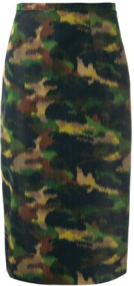 Rochas Camo Print Pencil Skirt