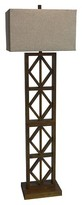 Mudhut Carved Wood Floor Lamp - Medium Tone Brown/Light Brown (20x13x62