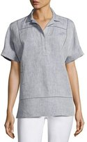 Lafayette 148 New York Short-Sleeve Yarn-Dyed Linen Top, Medium Blue
