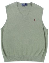 Polo Ralph Lauren Green Mens Size XL Solid V-Neck Sweater Vest