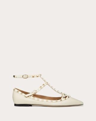Valentino Grain Calfskin Leather Rockstud Caged Ballet Flat Women Light Ivory Calfskin 100% 37.5