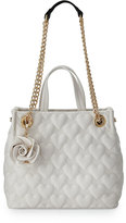 Betsey Johnson Bee Mine Heart-Quilted Shopper Bag, White