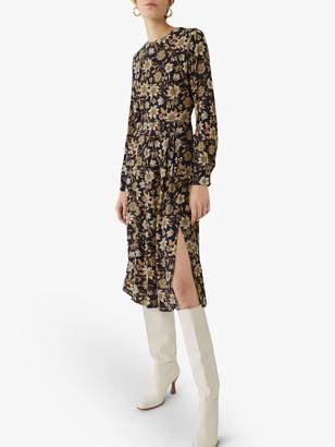 Warehouse Retro Daisy Midi Dress, Multi