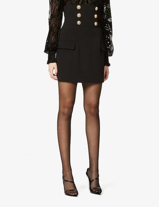 Balmain Button-embellished high-waist woven mini skirt