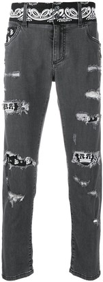 Dolce & Gabbana Bandana Print Ripped Skinny Jeans