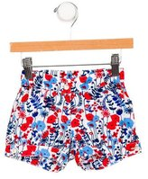 Oscar de la Renta Girls' Floral Print Mini Shorts
