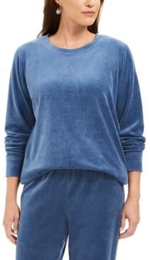 Karen Scott Petite Velour Sweatshirt, Created For Macy's