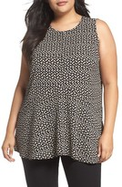 Vince Camuto Plus Size Women's Deco Layer Dots Ruffle Front Blouse