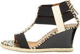 Fendi Patent Banded-Strap Wedge Sandal, Zebra Print