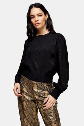 Topshop Womens Black Jacquard Long Sleeve Blouse - Black