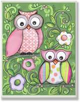 Stupell Industries The Kids Room by Stupell Pair of Owls with Green Floral Background Rectangle Wall Plaque