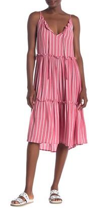 Angie Flowy Stripe Print Ruffle Sun Dress