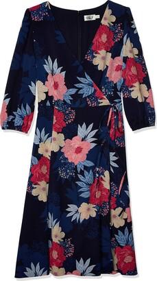 Eliza J Women's Printed MIDI WRAP Dress