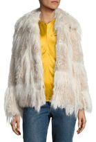 Helmut Lang Plaid Faux Fur Jacket