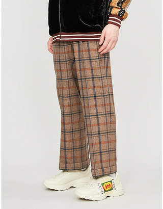 Gucci Checked wide-leg wool-blend trousers