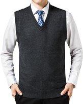 WEILAI Men's Fahion Multicolor Solid V-Neck Sweater Soft Vest (L, )