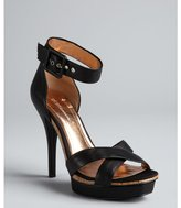 BCBGeneration black leather ankle strap platform 'Zenas' sandals