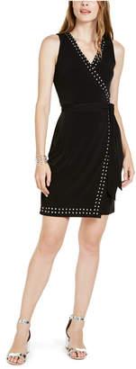 INC International Concepts Inc Petite Studded-Trim Faux-Wrap Dress