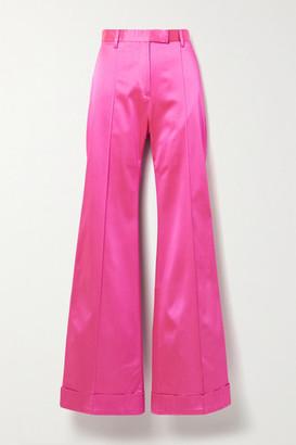 House of Holland Satin-crepe Flared Pants - Fuchsia