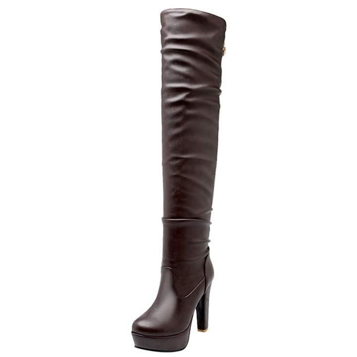 17c61e2e1b600 Artfaerie Women's Over The Knee Slouch Boots Block High Heel Top Zipper  Ladies Platform Long Strech Boots(US 7.5, )