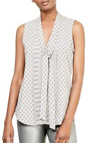 Lauren Ralph Lauren Foulard Print Tie Neck Top