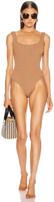 Hunza G Classic Square Neck Swimsuit in Metallic Cocoa | FWRD
