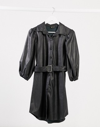 I SAW IT FIRST belted puff sleeve shirt dress in black