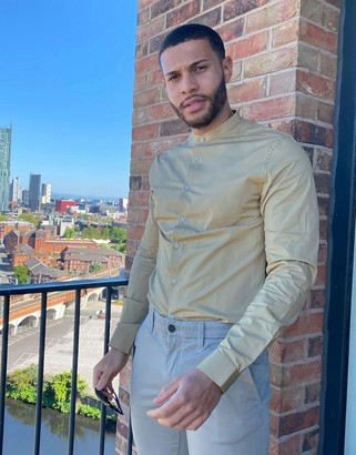 ASOS DESIGN stretch skinny fit shirt in beige with grandad collar