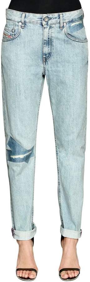 Diesel Stretch Cotton Denim Jeans W/ Logo Tape